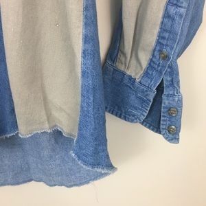 1d7b977373 Wrangler Shirts - Vintage WRANGLER Blue Tan Denim Shirt 16 1 2 x 35